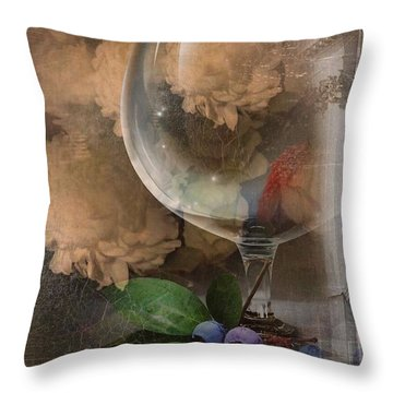 Wine Glass And Flowers Throw Pillow by Georgiana Romanovna