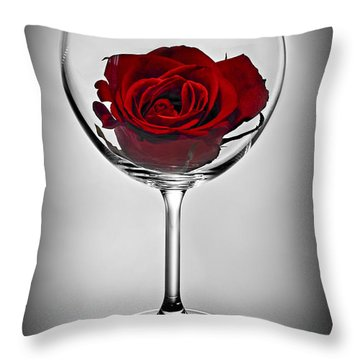 Wine Glass With Rose Throw Pillow