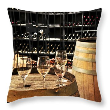Wine Glasses And Barrels Throw Pillow