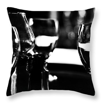 Wine Glasses On Table Throw Pillow