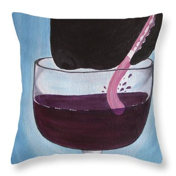 Wine Is Best Shared With Friends - Black Dog Throw Pillow