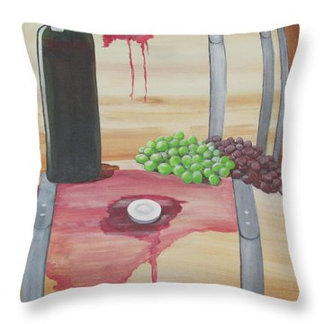 Wine N Grapes Throw Pillow