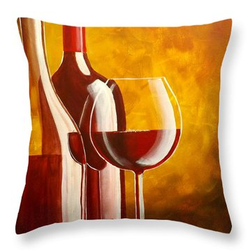 Wine Not Throw Pillow by Darren Robinson
