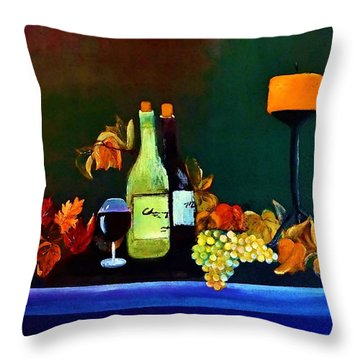 Wine On The Mantel Throw Pillow by Lisa Kaiser