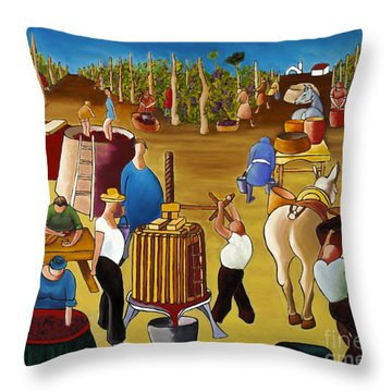 Wine Pressing 2  Throw Pillow