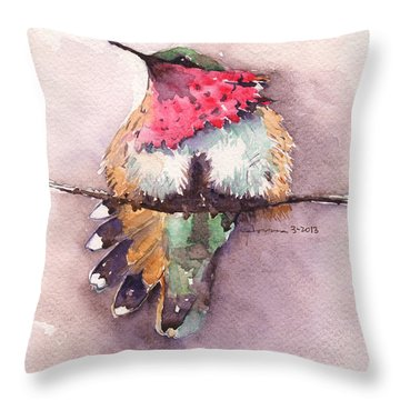 Wine-throated Hummingbird Throw Pillow