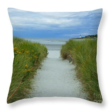 Wingaersheek Beach Path And Annisquam Lighthouse Throw Pillow