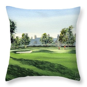 Winged Foot West Golf Course 18th Hole Throw Pillow by Bill Holkham