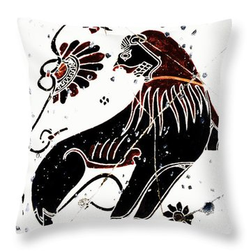 Winged Lion - Detail No. 1 Throw Pillow by Steve Bogdanoff