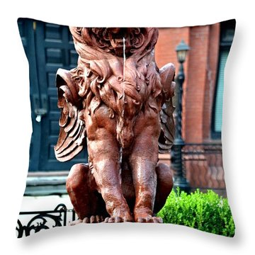 Winged Lion Fountain Throw Pillow