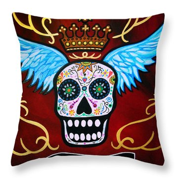 Throw Pillow featuring the painting Winged Muertos by Pristine Cartera Turkus