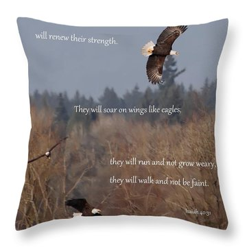 Wings Like Eagles Throw Pillow by Angie Vogel