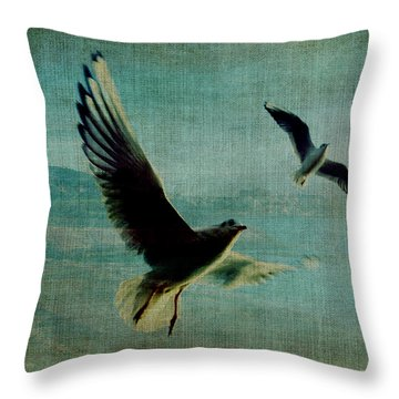 Wings Over The World Throw Pillow by Sarah Vernon