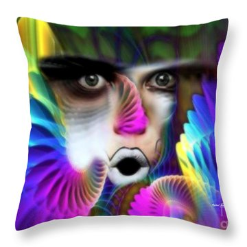 Throw Pillow featuring the painting Wings by Rafael Salazar