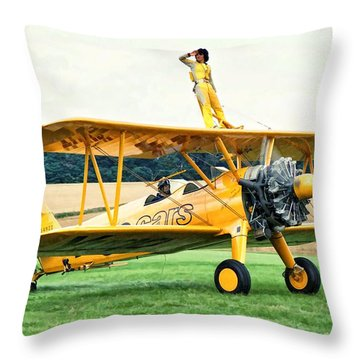Wingwalking Throw Pillow