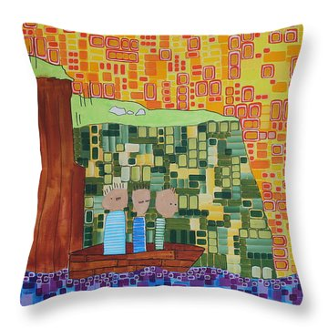 Wink Blink Nod II Throw Pillow by Donna Howard