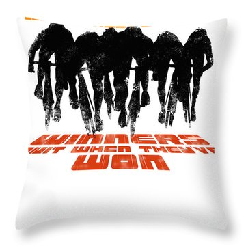 Winners And Losers Cycling Motivational Poster Throw Pillow