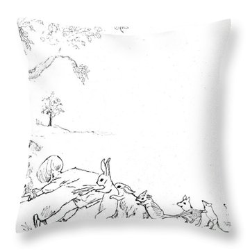 Winnie The Pooh And Crew In Pen  And Ink After E H Shepard Throw Pillow