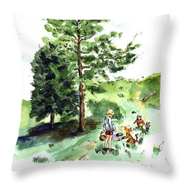Winnie The Pooh With Christopher Robin After E H Shepard Throw Pillow