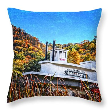 Winona Steamboat Sign Throw Pillow
