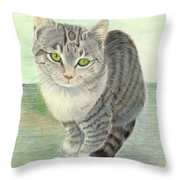Winsome Kiten Throw Pillow by Ruth Seal