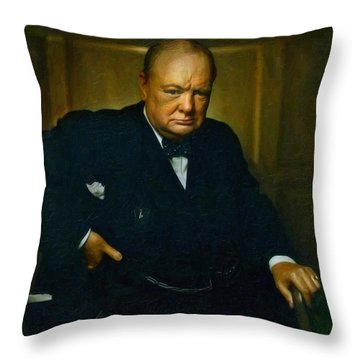 Winston Churchill Throw Pillow