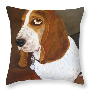 Throw Pillow featuring the painting Winston by Karen Zuk Rosenblatt