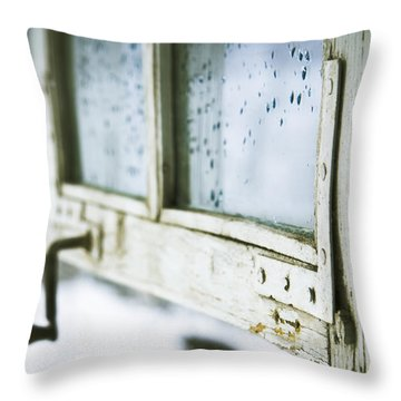 Wintage Wooden Window Closeup Throw Pillow