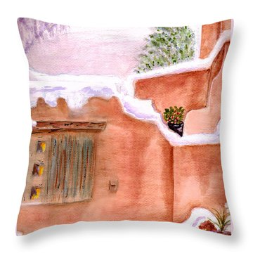 Throw Pillow featuring the painting Winter Adobe by Paula Ayers