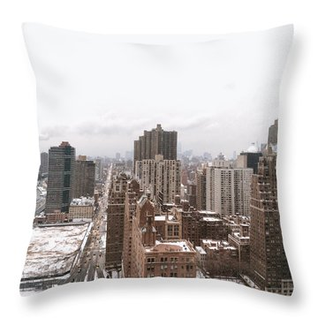 Winter Afternoon - Above New York City Throw Pillow
