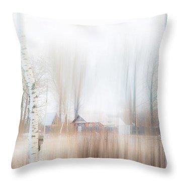 Winter Aquarel. Russia Throw Pillow