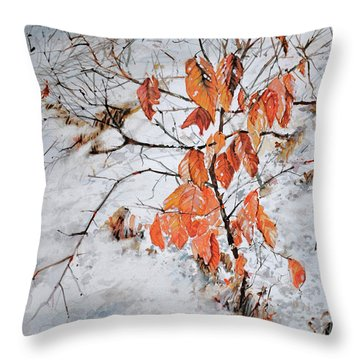 Winter Ash Throw Pillow