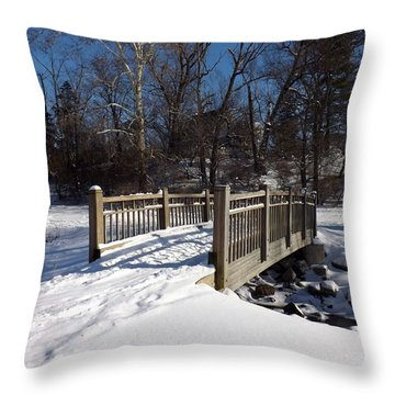 Winter At Creekside Throw Pillow