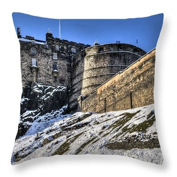 Throw Pillow featuring the photograph Winter At Edinburgh Castle by Ross G Strachan