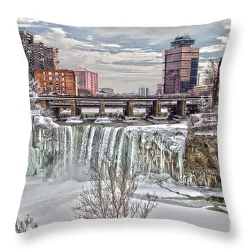 Winter At High Falls Throw Pillow by William Norton