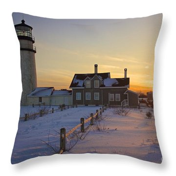 Winter At Highland Lighthouse Throw Pillow