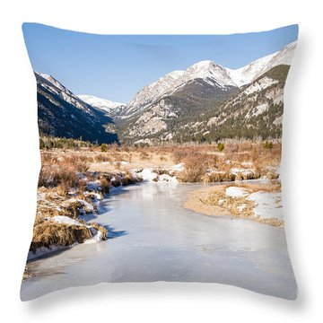 Winter At Horseshoe Park In Rocky Mountain National Park Throw Pillow