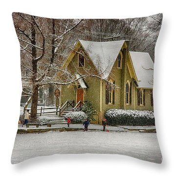 Winter At Lake Afton Throw Pillow by Nicola Fiscarelli