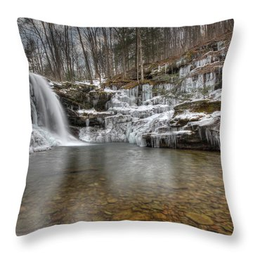 Winter At Lewis Falls Throw Pillow