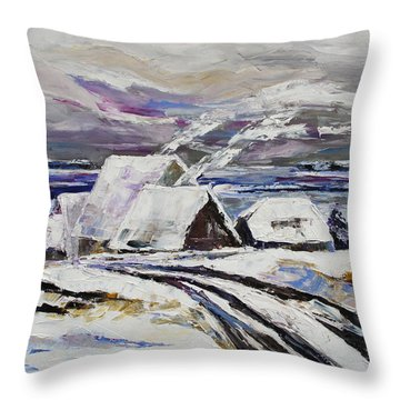 Winter At Little Jasmund Bay On The Island Ruegen Throw Pillow