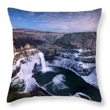 Winter At Palouse Falls Throw Pillow by Dan Mihai