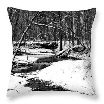 Throw Pillow featuring the photograph Winter At Pedelo Black And White by Deena Stoddard