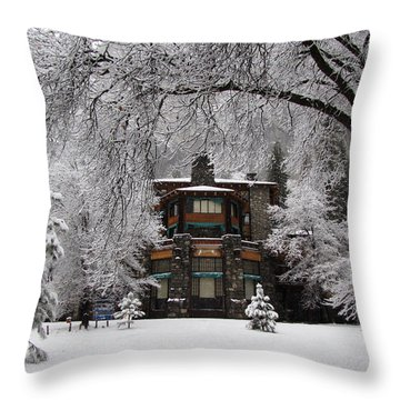 Winter At The Ahwahnee In Yosemite Throw Pillow by Carla Parris