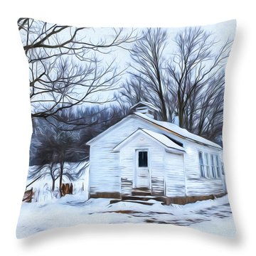 Winter At The Amish Schoolhouse Throw Pillow
