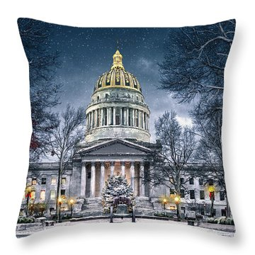 Winter At The Capitol Throw Pillow by Mary Almond