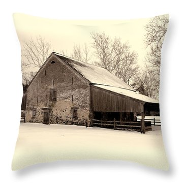Winter At The Horse Barn Throw Pillow