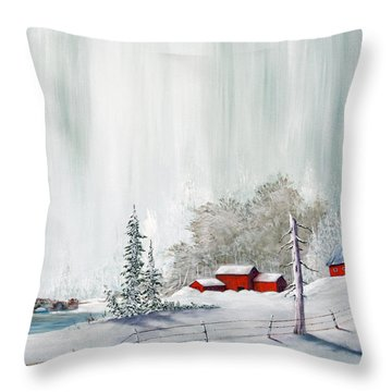 Winter At The Lake Throw Pillow