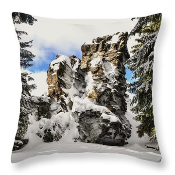 Winter At The Stony Summit Throw Pillow by Aged Pixel