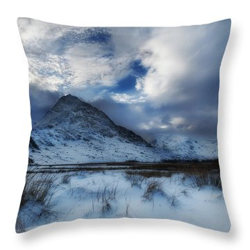 Winter At Tryfan Throw Pillow by Beverly Cash