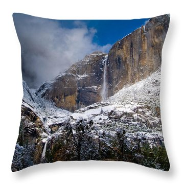 Winter At Yosemite Falls Throw Pillow